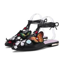 New Occident Women Butterflies Lacing Sandals Flats Low Heels Shoes Casual Mules