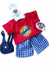 Teddy Bear Clothes fits Build a Bear Teddies Red Boom Shorts Outfit & Backpack