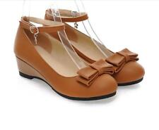 Mary Janes Womens Girls Bowknot Lolita Ankle Strap Wedge Heel Pump Court Shoes