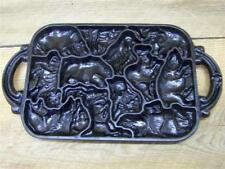Vintage 1984 JOHN WRIGHT Cast Iron Animal Puzzle Cookie Baking Pan Candy Mold