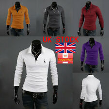 Mens Long Sleeve T-Shirt Button Down Cotton Polo Shirt Top Classic Casual Shirts