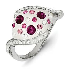 SS Pink and White Stellux Crystal Ring. Metal Wt- 3.6g