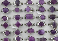 10 pcs Mixed Amethyst Rings Wholesale Lot Antique Silver Plated Fashion Jewelry