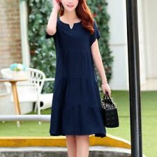 Women Blue Color V-Neck Short Sleeve Knee-length Dress Plus Size