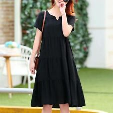 Black Color V-Neck Short Sleeve Knee-length Dress Plus Size For Women