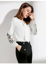 Women's V Neck Long Sleeve Tops Embroidery Floral Blouses Slim Fit OL Shirts