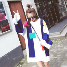Korean Womens Shirts Long Oversize Crewneck Knitted Sweater Loose Blouses Tops