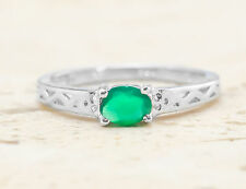 925 Sterling Silver Ring with Oval Cut Natural Green Onyx Gemstone Handcrafted.