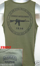 RANGER SNIPER TANK TOP/ OD GREEN/ MILITARY/  IRAQ COMBAT OPS/ NEW