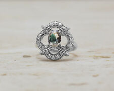 925 Sterling Silver Flower Shape Ring with Green Natural Tourmaline Gemstone