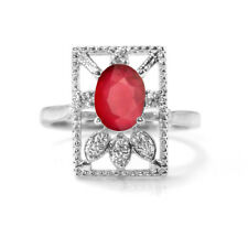 925 Sterling Silver Ring with Red Natural Ruby Gemstones Oval Cut Handcrafted