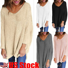 USA Women V-Neck Knitted Sweater Oversize Long Sleeve Loose Jumper Tops Knitwear