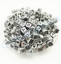 50Pcs 6mm A-Z SINGLE LETTER Acrylic Silver Cube ALPHABET Spacer Loose Beads