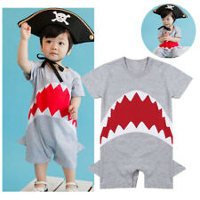 Infant Baby Boys Shark Short Sleeves Toddler Romper Bodysuit Outfits Clothes New