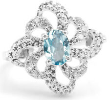 925 Sterling Silver Ring with Blue Topaz Natural Gemstone Oval Engagement eBay