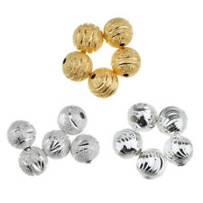 50Pcs 8mm Copper Loose Round Ball Copper Flower Spacer Beads Jewelry Making