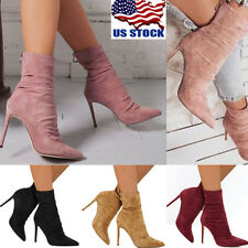 USA Women's Pointed Toe Stiletto High Heel Zip Up Stretch Ankle Boots Shoes Size