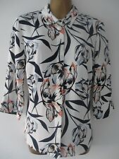 EX M&S IVORY FLORAL CONCEALED BUTTON FRONT COLLARED BLOUSE SHIRT SIZES 8-16