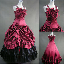 Womens Satin Gothic Dress Lolita Cosplay Long Dress Party Bowknot Ball Gown