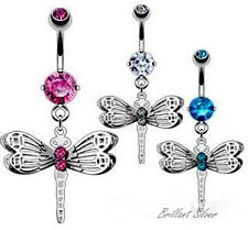Belly Button Piercing Silver Navel Stud Pendant Dragonfly White Pink