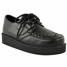 WOMENS FLAT PLATFORM WEDGE LACE UP BLACK CREEPERS PUNK GOTH SHOES