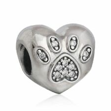 authentic Sterling Silver I Love My Pet Bead Charms Foot Prints Heart Charm bead