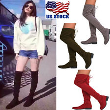 USA Womens Zipper Lace Up Suede Over The Knee Boots Thigh Shoes Block Low Heel