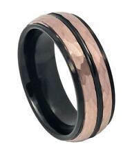8mm Tungsten Ring Rose Gold IP Hammered Finish with Two-tone IP Black Center