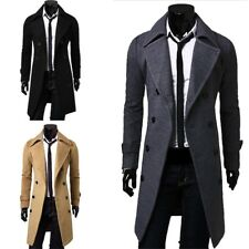 Fashion Mens Warm Trench Coat Double Breasted Overcoat Long Wool Jacket Outwear