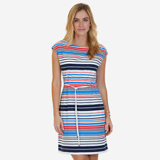 Nautica Womens Stretch Cotton Jersey Multicolor Striped Belted Dress