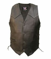 Mens Black Leather Motorcycle Vest  Side Laced Biker Buffalo Leather