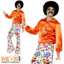 Groovy Flared Trousers Mens 60s 70s Fancy Dress Disco Hippy Hippie Adult Costume