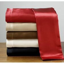 New Full Silk Feel Luxury Satin Pillowcase+Fitted+Flat Sheets Set Deep Pocket