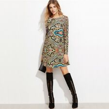 Women Autumn Multicolor Printed Boat Neck Long Sleeve Tunic Dress SB0025