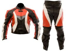 RED/BLACK-MOTORCYCLE LEATHER SUIT MOTORBIKE RACING MEN BIKER SUIT JACKET TROUSER