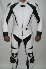 WHITE MOTORCYCLE LEATHER SUIT MOTORBIKE RACING MEN BIKER SUIT JACKET TROUSER