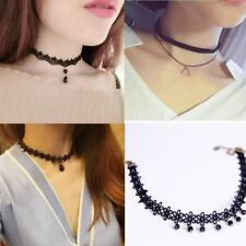 Fashion trendy sexy hollow flower pendant water drop chokers necklace collar wom