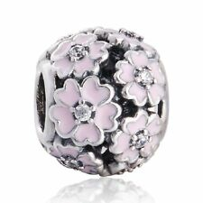 authentic Sterling Silver Cherry Blossom Clip Pink Enamel CZ Charm European Bead