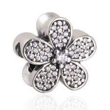 authentic Sterling Silver Charms Clear Zircon Daisy European Charm Fit Bracelet