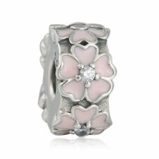 authentic Sterling Silver Cherry Blossom Charms Bead Fixed Clip Charm Beads