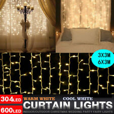 600LED String Fairy Curtain Lights Icicle Snowing Christmas Xmas Lamp Warm 6*3M