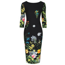 Black Multi Floral Print 3/4 Sleeve Bodycon Pencil Wiggle Dress