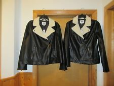 Black Leather White Sherpa Collar Jackets Old Navy Full Zip 2 side pockets NWT