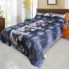 Home Bedding Bed Pillowcase Quilt Duvet Cover Set Queen Black Tiger Useful P2Y4