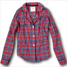 NWT Abercrombie&Fitch Plaid Flannel Pajama Top Red Plaid S 100% Cotton Sleepwear