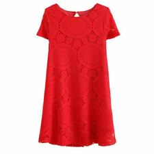 Lace Material Round Neck Short Sleeve Round Neck Mini Dress For Women