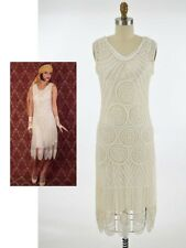 20s Ivory Beaded Flapper Style Cocktail Dress-1920s Art Deco Gatsby Wedding