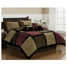 Chezmoi Collection Comforter Set Micro Suede Patchwork Bedding Bed Pillow 7pc