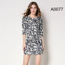 Women Fashion Vintage Printed Pinup Casual Party Bodycon Dress PN662