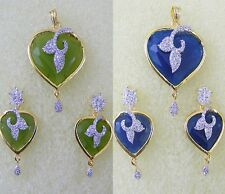 Indian Ethnic Fashion Jewelry Pendant Set Green Blue CZ AD Gold Silver Plated